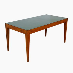 Mid-Century Walnut and Green Formica Dining Table Attributed to Gio Ponti, 1950s