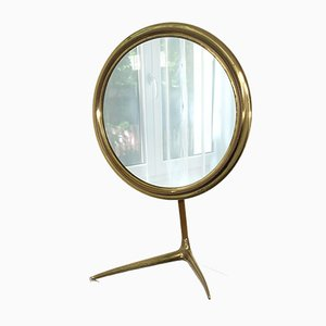 Mid-Century Italian Brass Table Vanity Mirror, 1950s