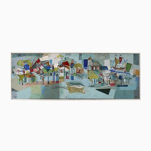 Modernistische Abstrakte Italienische Malerei an Bord, 1950er