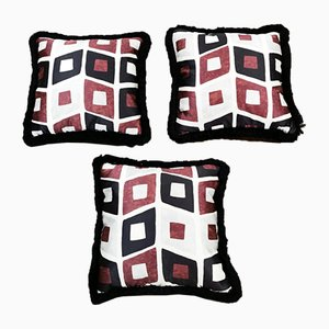 Italian Handmade Satin and Velvet Cushions, 1960s, Set of 3