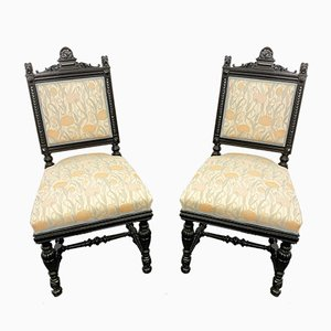 Art Nouveau Black and Floral Dining Chairs, 1890s, Set of 2