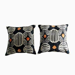 Uzbek Handmade Ikat Silk Cushions, 1990s, Set of 2