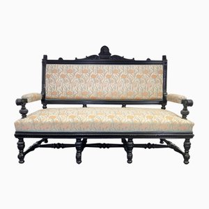Art Nouveau Black and Floral Bench, 1890s