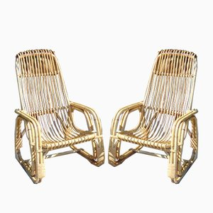 Vintage Bamboo Garden Armchairs, Set of 2