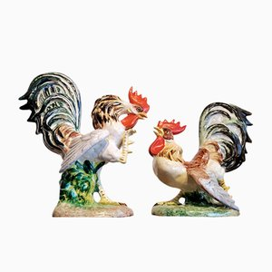 Fighting Cocks Figurines by Zaccagnini for Zaccagnini, 1950s, Set of 2