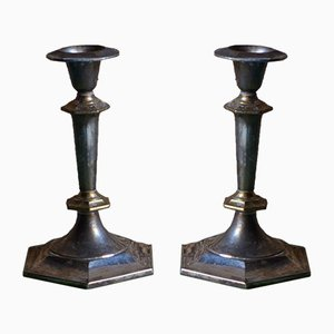Silver-Plated Metal Candleholders, 1940s, Set of 2