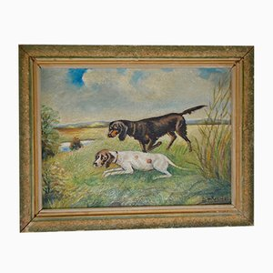 Mid-Century Chiens de chasses Oil Painting by Joseph Becker
