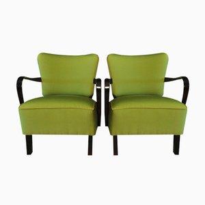 Grüne Cocktail Lehnsessel, 1950er, 2er Set