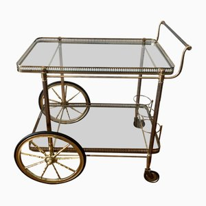 Neoclassical Golden Brass Bar Cart, 1960s