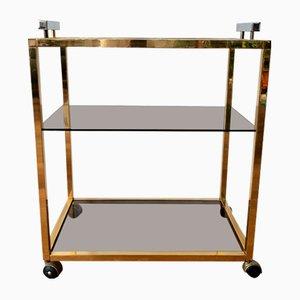 Italian Golden Brass Bar Cart, 1950s