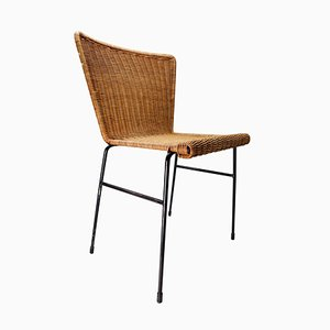 Mid-Century Dutch Patinated Metal and Wicker Chairs