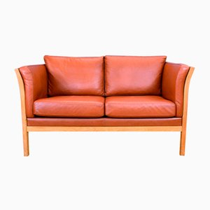 Mid-Century Danish Tan Leather and Beech Slatted 2-Seater Sofa Settee