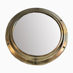Vintage Solid Brass Porthole Mirror, 1960s