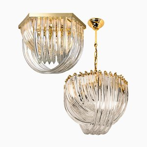 Curved Crystal Glass and Gilt Brass Chandeliers by Venini, Italy, 1970s, Set of 2