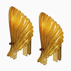 Applique in vetro di Murano color ambra ocra in vetro soffiato a mano, anni '60, set di 2