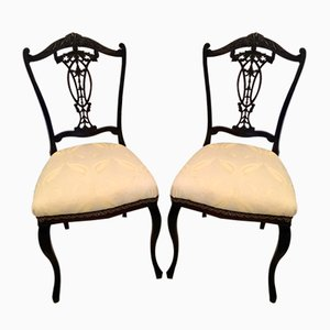 Antique Victorian Carved Ebonized Rosewood Desk Chairs, Set of 2