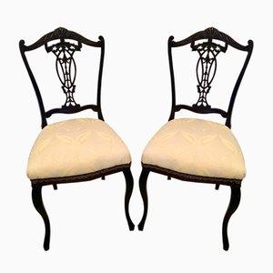 Sedie da scrivania antiche vittoriane in legno ebanizzato e intagliato, set di 2