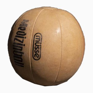 Vintage Light Brown Leather 2 Kg Medicine Balls, 1950s