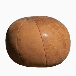 Vintage Dark Brown Leather 2 Kg Medicine Balls, 1950s