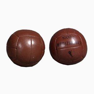Vintage Red Brown Leather 1 Kg Medicine Balls, 1950s