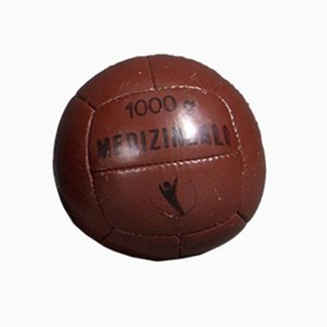 Vintage Red Brown Leather 1 Kg Medicine Balls, 1950s