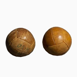 Vintage Tan Leather 1 Kg Medicine Balls, 1950s