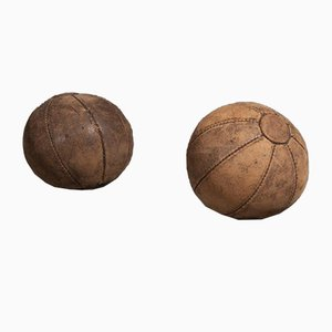 Vintage Dark Brown Leather 0.5 Kg Medicine Balls, 1950s