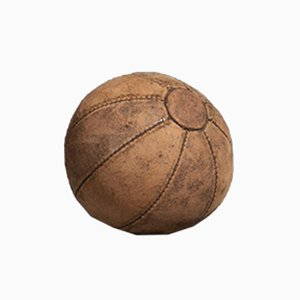 Vintage Dark Brown Leather 0.5 Kg Medicine Ball, 1950s