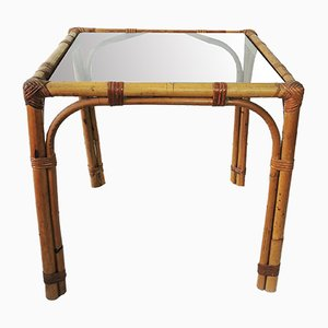 Vintage Bamboo and Glass Top Coffee Table, 1970s