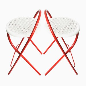 Mid-Century Italian Folding Bar Stools from Grand Soleil, 1960s, Set of 2