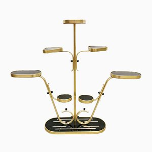 Vintage Black and Gold Pyramid Plant Stand, 1960s