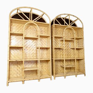 Large Vintage Bamboo Shelf Room Divider, 1980s