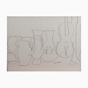 Bodegón con vasos y violín de Pierre Ambrogiani, años 50