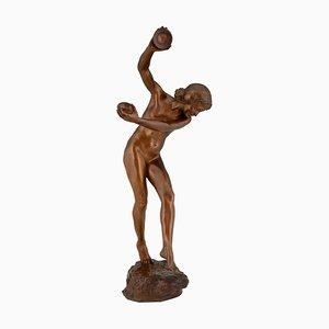 Jugendstil Bronze Akt mit Becken Skulptur von Lawrence Dupuy für Susse Frères, 1915