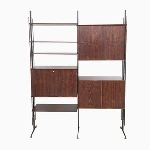 Mid-Century Rosewood and Metal Wall Unit, 1960s