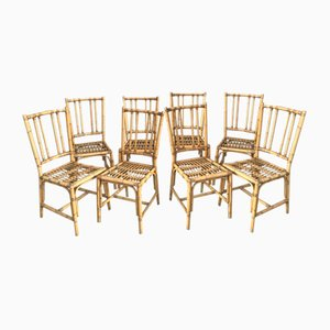 Vintage Bamboo Dining Chairs, 1970s, Set of 8