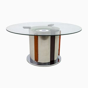 Mid-Century Murano Glass and Steel Coffee Table by Angelo Brotto for Poliarte, 1970s