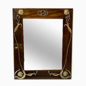 Österreichischer Jugendstil Spiegel aus Holz & Bronze, 1900er