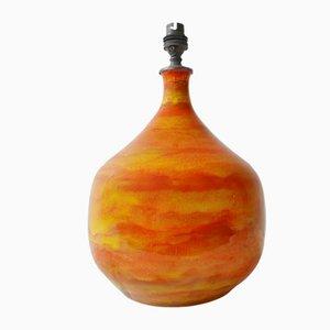 Lámpara de mesa Mid-Century de cerámica quemada en naranja, años 50