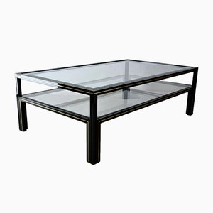 Hollywood Regency Two-Tier Black Coffee Table by Pierre Vandel, 1980s