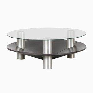 Tavolino da caffè rotondo in alluminio, Paesi Bassi, anni '70