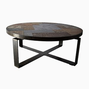 Mid-Century Slate Stone and Brass Coffee Table by Paul Kingma