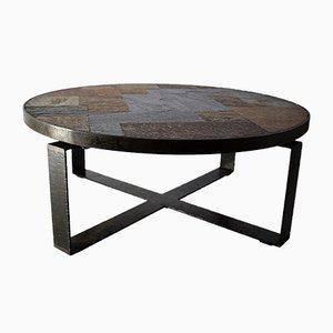 Mid-Century Slate Stone and Brass Coffee Table by Paul Kingma