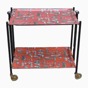 Mid-Century Model Dinett Folding Serving Trolley with Motifs of Pewter Tableware from Bremshey & Co., 1950s