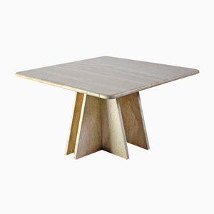 Mid-Century Italian Square Travertine Coffee Table