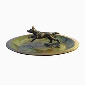 Art Deco Danish Bronze and Brass Ashtray with Dog by HF Ildfast, 1930s