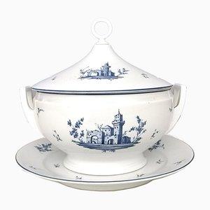 Fuente italiana neoclásica de porcelana blanca y azul de Richard Ginori, años 60