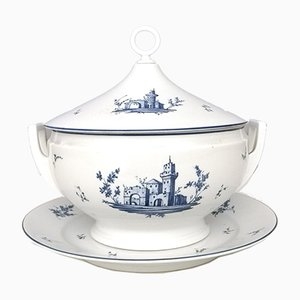 Neoclassical Italian White and Blue Porcelain Serving Dish from Richard Ginori, 1960s