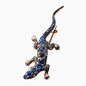 Broche de lagarto antiguo de zafiro