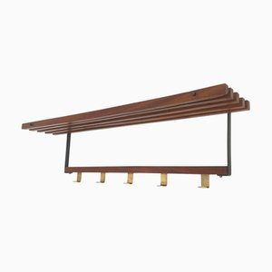 Mid-Century Scandinavian Teak, Black Iron, and Brass Wall Rack, 1960s
